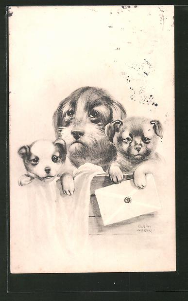 Künstler-AK Ulrich Weber: Kleine Hunde mit einem Brief