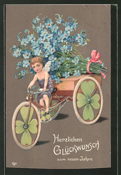 Präge-Lithographie Glückwunsch zum neuen Jahre, Engel auf Dreirad mit Vergissmeinnicht