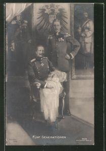AK Kronprinz Wilhelm von Preussen mit Vater und Familie