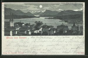 Mondschein-Lithographie Luzern, Panorama mit Kirche und Gebirge