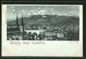 Mondschein-Lithographie Luzern, Panorama mit Pilatus
