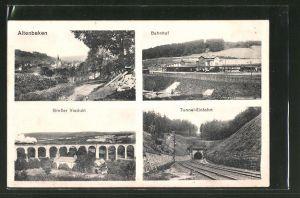 AK Altenbeken, Bahnhof, Grosser Viadukt, Tunnel