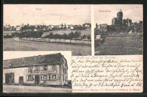 AK Faid, Gasthaus von Joseph Nalbach, Blick auf die Winneburg, Totalansicht