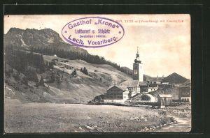 AK Lech, Teilansicht mit Kirche und Kaarspitze