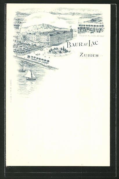 Lithographie Zürich, Hotel Baur au Lac, Jardin
