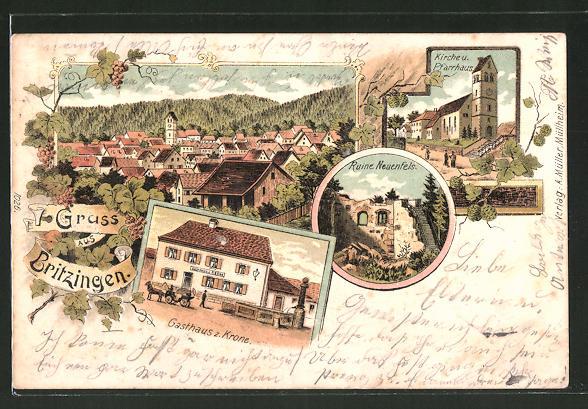 Lithographie Britzingen, Gasthaus zur Krone, Ruine Neufels, Kirche und Pfarrhaus