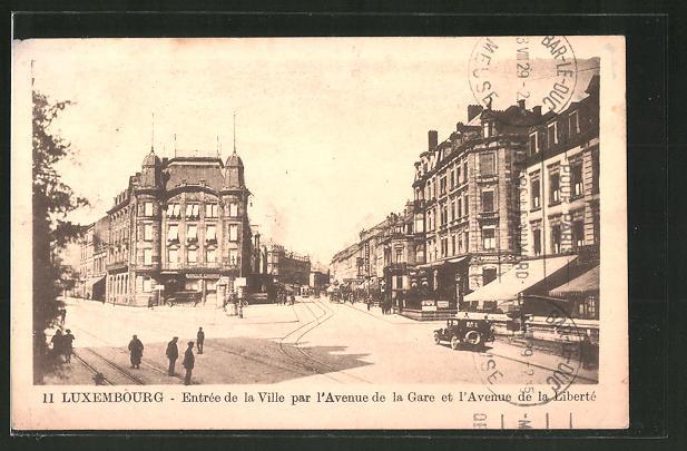 AK Luxembourg, Entree de la Ville par l'Avenue de la Gare et l'Avenue de la Liberte