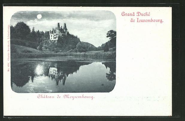 Mondschein-AK Meysembourg, Chateau, Schlos vom See aus