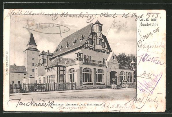 AK Berlin-Grunewald, Hundekehle, Restaurant Herrmann Otto