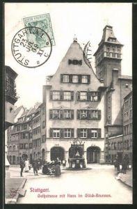 AK Stuttgart, Geissstrasse mit Hans im Glück-Brunnen