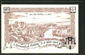 Künstler-AK Colditz, 2. Heimatfest 1926, Alte Stadtansicht um 1800