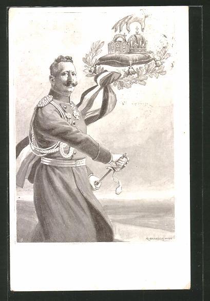 Künstler-AK C. Benesch: Kaiser Wilhelm II. zieht sein Schwert um das Vaterland zu verteidigen
