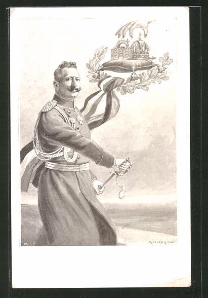 Künstler-AK C. Benesch: Kaiser Wilhelm II. greift zum Schwert
