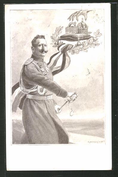 Künstler-AK C. Benesch: In beutegier'ger Leidenschaft..., Kaiser Wilhelm II.
