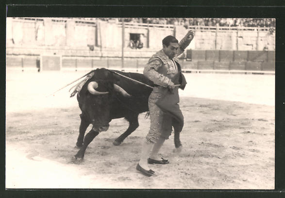 Foto-AK Stierkampf, Torero weicht dem Stier aus