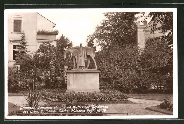 AK Grimma, Denkmal für die im Weltkriege Gefallenen des ehem. 2. Königl. Sächs. Husaren Regt. Nr. 19