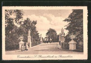 AK Crimmitschau, Bismarckbrücke im Bismarckhain