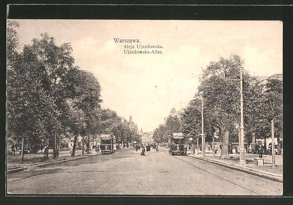 AK Warszawa / Warschau, Ujazdowska-Allee, Totale mit Strassenbahn
