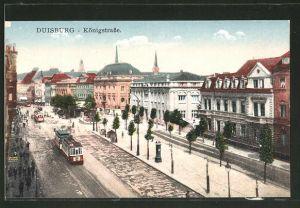 AK Duisburg, Strassenbahnen auf der Königstrasse