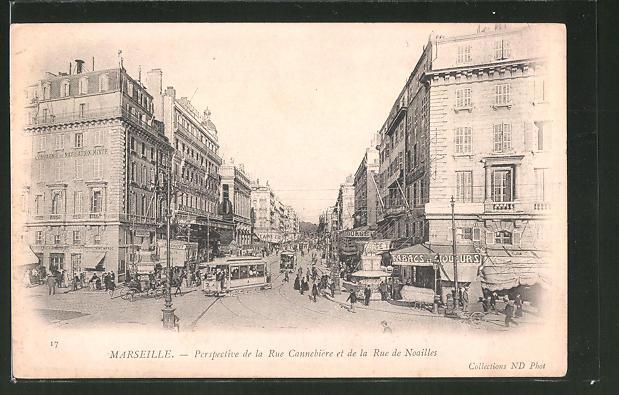 AK Marseille, Perspective de la Rue Cannabiere et de la Rue de Noailles, Strassenbahn