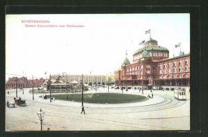 AK Scheveningen, Gevers Deynootplein met Kurhausbar, Strassenbahnen