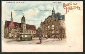 Lithographie Halle / Saale, Gasthof Neuer Rathskeller und Altes Rathaus mit Strassenbahn, Halt gegen das Licht: Vollmond