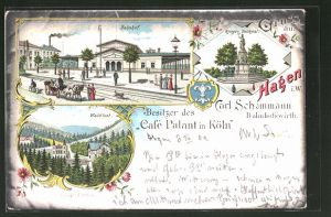 Lithographie Hagen, Passanten vor dem Bahnhof, Gasthof Waldlust, Krieger-Denkmal