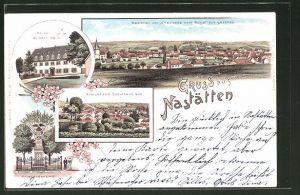 Lithographie Nastätten, Totalansicht vom Schulhaus aus, Kriegerdenkmal, Kaiser Wilhelm-Heim, Totalansicht