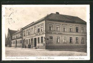 AK Vacha, Strassenpartie am Gasthof zum Deutschen Haus mit Gasthof zum Löwen