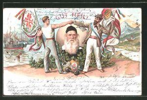 Lithographie Portrait des Turnvater Jahn, Turner reichen sich die Hände