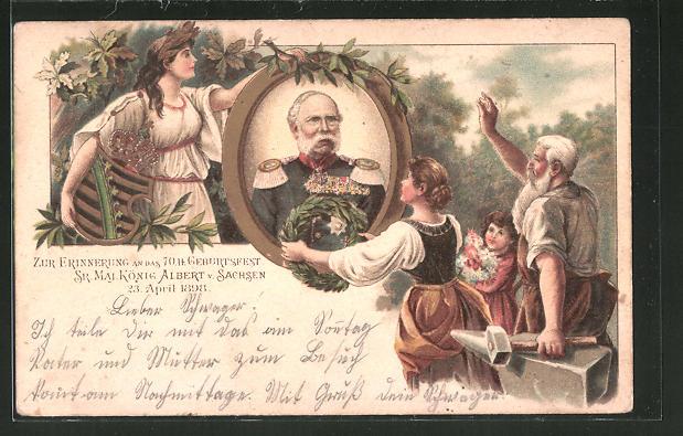 Lithographie 70. Geburtstag König Albert von Sachsen, Porträt