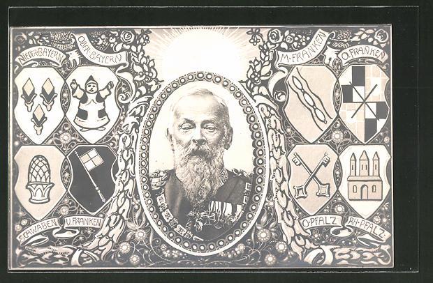 AK Porträt Prinzregent Luitpold von Bayern, Wappen von Ober-Bayern, Schwaben, Ob.Pfalz