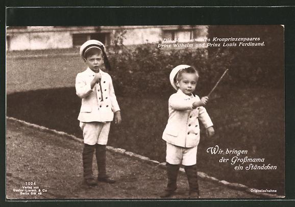 AK Die Söhne des Kronprinzenpaares Prinz Wilhelm und Prinz Louis Ferdinand