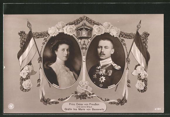 AK Prinz Oskar von Preussen und seine Braut Gräfin Ina Marie von Bassewitz