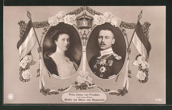AK Porträts von Prinz Oskar von Preussen und seine Braut Gräfin Ina Marie von Bassewitz