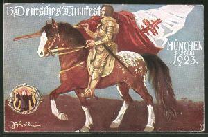 AK München, 13. Deutsches Turnfest 05.-21. Juli 1923, Ritter auf seinem Pferd