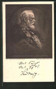 Künstler-AK Ludwig III. König von Bayern, Ganzsache 5 Pfennige
