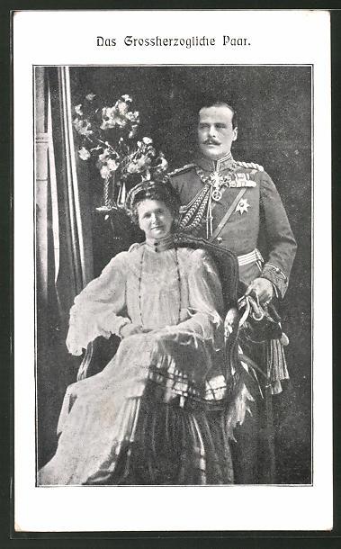 AK Grossherzog Ernst Ludwig von Hessen Darmstadt mit Victoria Melita