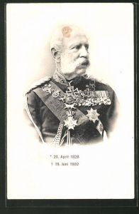 AK König Albert von Sachsen in Uniform mit Orden und Ritterkreuz