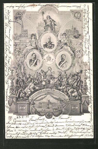AK Porträt Friedrich Wilhelm III. von Preussen, Erinnerungskarte an Kaiser Wilhelm und den Siegreichen