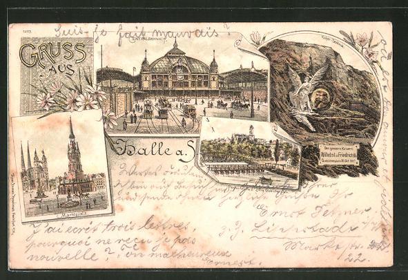 Lithographie Halle / Saale, Centralbahnhof, Marktplatz, Kaiser-Denkmal