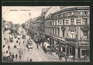 AK Duisburg, Strassenbahnen in der Königstrasse
