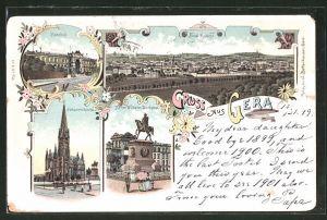 Lithographie Gera, Totalansicht, Bahnhof, Johanniskirche, Kaiser Wilhelm Denkmal
