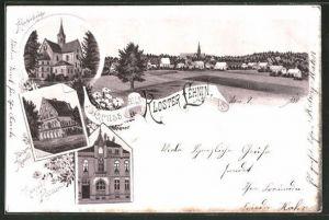 Lithographie Lehnin, Klosterkirche, Kaiser-Kapelle, Kaiserl. Postamt