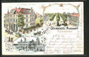 Lithographie Hannover, Gasthaus Zum Schultheis, Langelaube 14 Ecke Hausmannstrasse, Herrenhäuser Allee