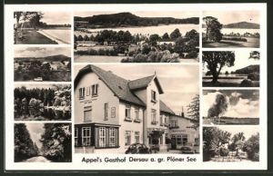 AK Dersau, Appels Gasthof, Ansichte des Plöner Sees