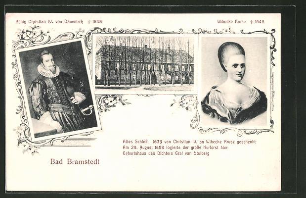 AK Bad Bramstedt, Portraits von Wibecke Kruse, König Christian IV. von Dänemark, Schloss