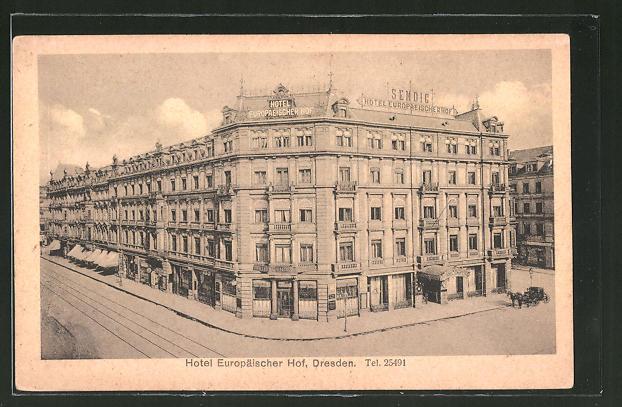 AK Dresden, Prager Strasse mit Hotel Europäischer Hof