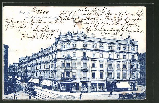 Lithographie Dresden, Prager Strasse mit Hotel Europäischer Hof