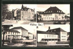 AK Flöha, August-Bebel-Strasse und Rathaus, Postamt, Bahnhof, Lehrkombinat des VEB Baumwolspinnerei Flöha